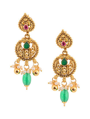 Pink Green Gold Tone Kundan Inspired Brass Jhumkis