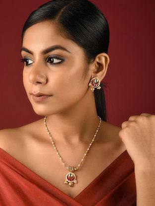 Pink Gold Tone Kundan Inspired Brass Necklace with Earrings (Set of 2)