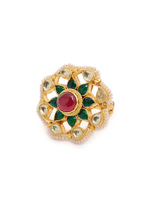 Pink Green Gold Tone Kundan Inspired Adjustable Brass Ring