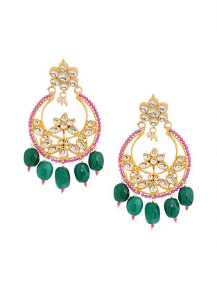 Pink Green Gold Tone Kundan Inspired Brass Earrings