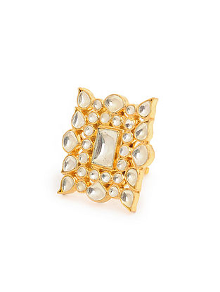 Gold Tone Kundan Inspired Adjustable Brass Ring