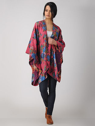Pink-Blue Printed Reversible Merino Wool Cape