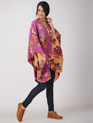 Pink-Yellow Printed Reversible Merino Wool Cape