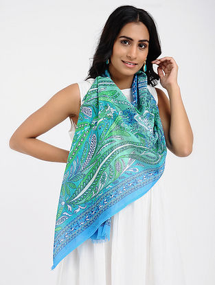 Turquoise-Green Printed Cotton Scarf