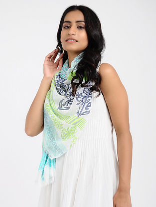 Ivory-Green Printed Cotton Scarf