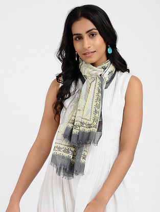 Ivory-Grey Printed Cotton Scarf