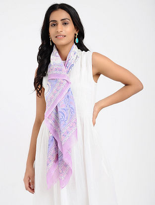 Ivory-Pink Printed Cotton Scarf
