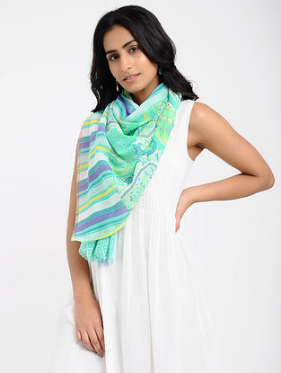 Green-Ivory Printed Cotton Scarf