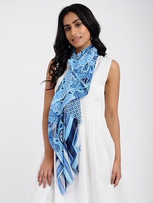 Blue-Ivory Printed Cotton Scarf
