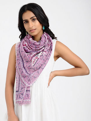 Pink-Ivory Printed Cotton Scarf