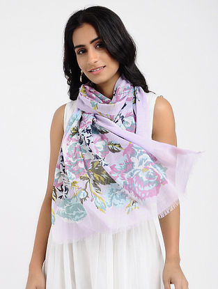 Lavender Printed Cotton Scarf