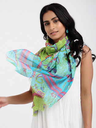 Green-Blue Printed Cotton Scarf