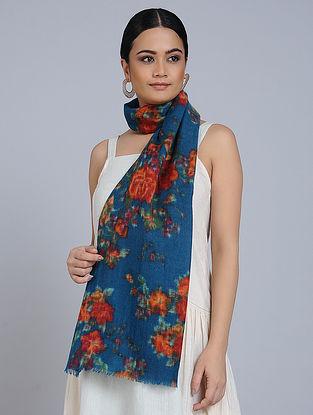 Blue-Rust Merino Wool Scarf