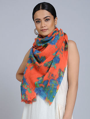 Orange-Blue Merino Wool Scarf