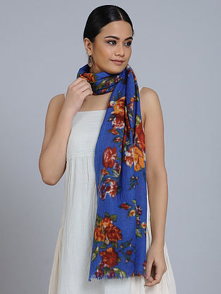 Blue-Brown Merino Wool Scarf