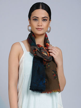 Brown-Blue Merino Wool Scarf