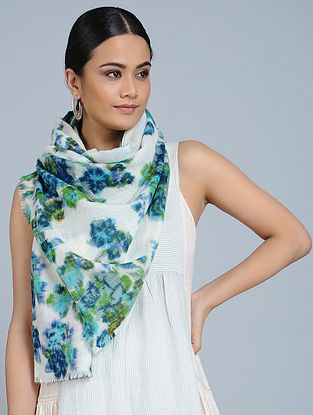 White-Blue Merino Wool Scarf