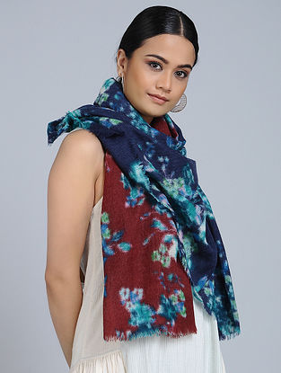 Blue-Rust Merino Wool Scarf