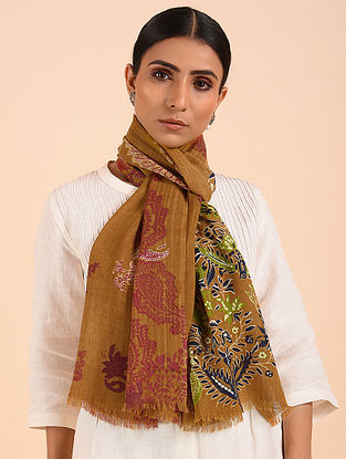 Brown-Rust Printed Merino Wool Shawl