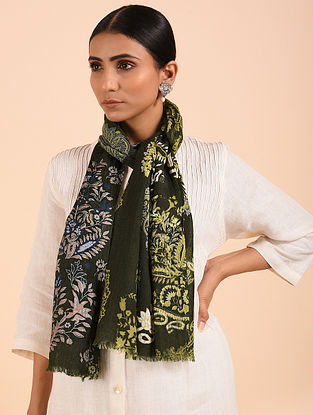 Green Printed Merino Wool Shawl