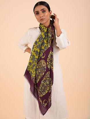 Mauve-Yellow Printed Merino Wool Shawl
