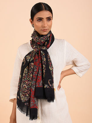Black-Rust Printed Merino Wool Shawl