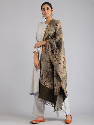 Beige-Grey Wool Shawl