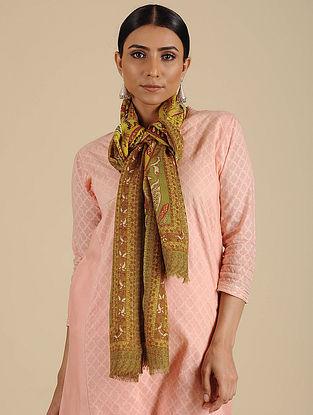 Green Printed Merino Wool Shawl