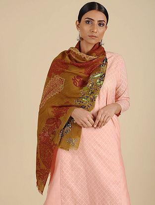 Brown-Rust Printed Merino Wool Shawl