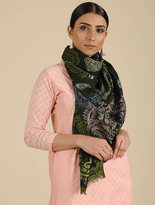 Black Printed Merino Wool Shawl