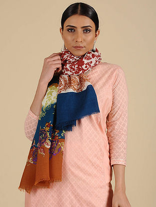 Multicolored Printed Merino Wool Shawl