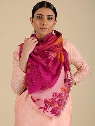 Pink-Orange Printed Merino Wool Shawl