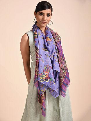 Purple Printed Merino Wool Scarf