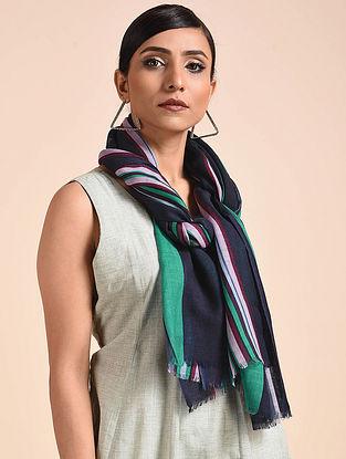 Green-Blue Printed Merino Wool Scarf