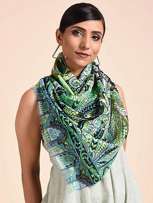 Green Printed Merino Wool Scarf