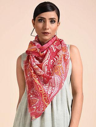 Red-Pink Printed Merino Wool Scarf