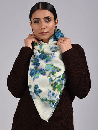 White-Blue Printed Merino Wool Scarf