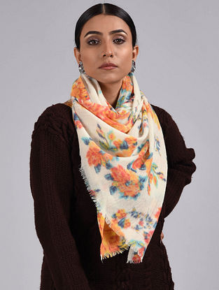 White-Orange Printed Merino Wool Scarf