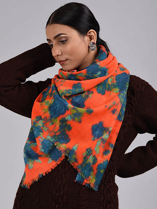 Orange-Blue Printed Merino Wool Scarf