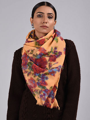 Orange-Red Printed Merino Wool Scarf