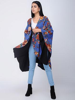Blue-Black Screen-printed Wool Reversible Cape