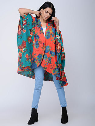 Red-Blue Screen-printed Wool Reversible Cape
