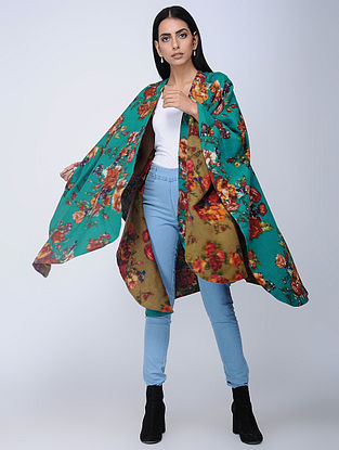 Blue-Olive Screen-printed Wool Reversible Cape