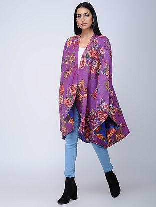 Purple-Blue Screen-printed Wool Reversible Cape