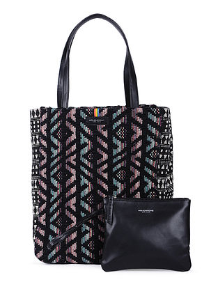 Black-Multicolored Handcrafted Cotton Jacquard Tote with Detachable Pouch