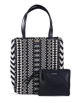 Black-Ivory Handcrafted Cotton Jacquard Tote with Detachable Pouch