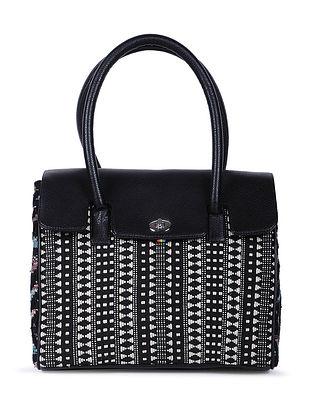 Black-Multicolored Handcrafted Cotton Jacquard Handbag