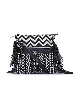 Black-Ivory Handcrafted Cotton Jacquard Sling Bag
