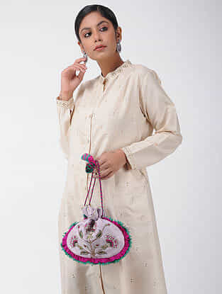 Grey-Multicolored Handcrafted Raw Silk Potli