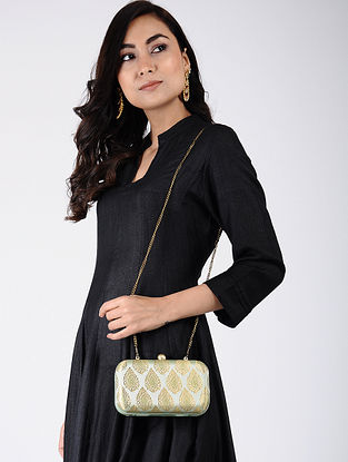 Powder Green-Golden Handcrafted Silk Clutch